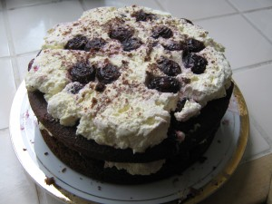 2-layered chocolate cake with cherries and cream