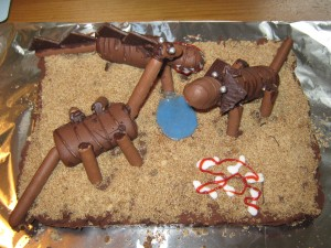 Chocolate cake with assorted dinosaurs