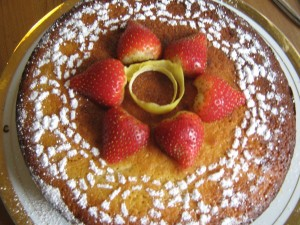 lemon sponge cake with creamy lemon curd and strawberry compote filling