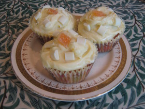 white chocolate and orange cupcakes