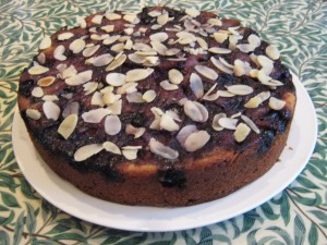 cherry and almond cake with ground almonds and flaked almonds