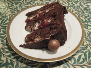 chocolate cake layered with cherries and cream
