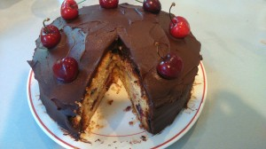 vanilla cake with chocolate ganache and cherries £16 (serves 16)