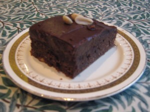 chocolate peanut brownie with peanut butter frosting