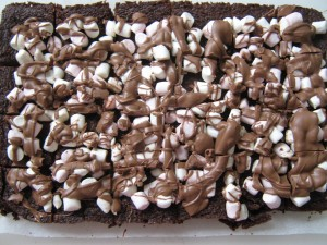 chocolate brownies topped with mini marshmallows and drizzled with milk chocolate