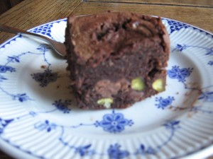 chocolate brownie with pistachios